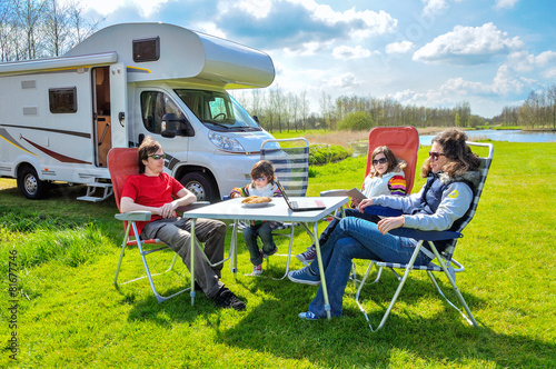 Family vacation, RV (camper) travel with kids, trip in motorhome - 81677746