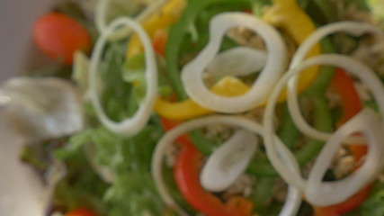 Healthy food fresh tuna salad, close up shot