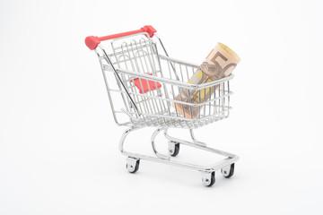 Carro de la compra y billetes