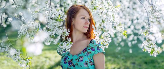 Beautiful portrait of woman in the garden