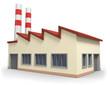 Leinwanddruck Bild - Fabrikgebäude