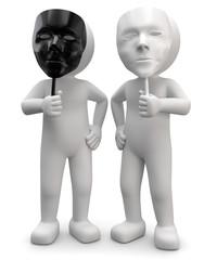 3d Männchen zwei Gesichter schwarz weiss