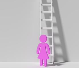 Frau vor einer Leiter
