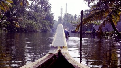 canoe boats on backwaters of Kerala State, South India