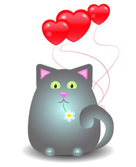 Cat with balloons in the form of heart