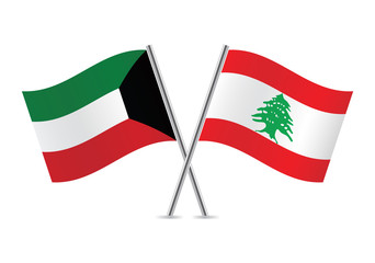 Kuwait and Lebanon flags. Vector illustration.