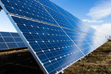 Blue solar panels installation