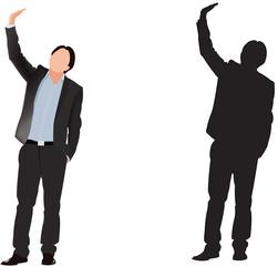 uomo con mano alzata