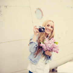 beautiful blonde photographer