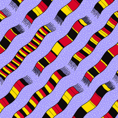 Winter background with Germany Flag Scarves.  Seamless vector pa
