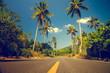 Leinwandbild Motiv Nice asfalt road with palm trees