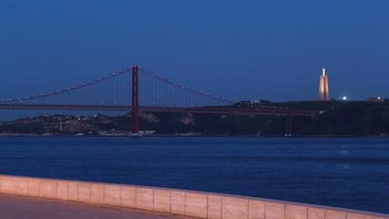 Bridge 25 de Abril on river Tagus at  twilight, Lisbon, Portugal