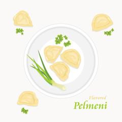 Flavored pelmeni. Label for menu design