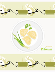Flavored pelmeni. Pattern for wrapping