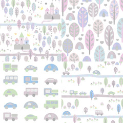 4 cute seamless pattern with trees, castles and toy cars
