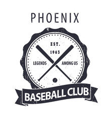 Phoenix Baseball club vintage round emblem with crossed bats