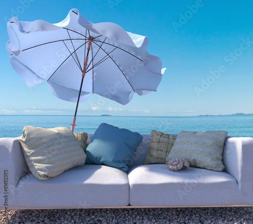Leinwanddruck Bild vacation  background with interior elements and seashell