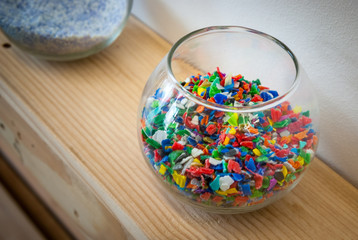 Plastic polymer granules.