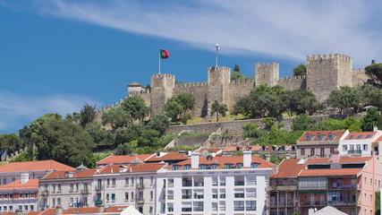 Lisbon fortress of Saint George view, Portugal Castelo de Sao