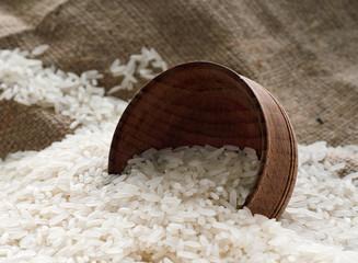 rice lies on sacking