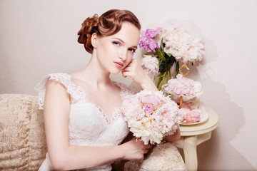 Bride with peony bouquet and candys