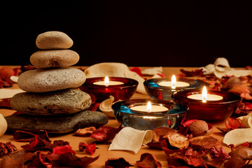 Candle and stones, relaxation concept