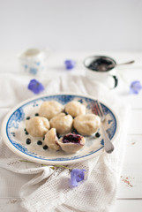 Dumplings with ricotta and blueberries
