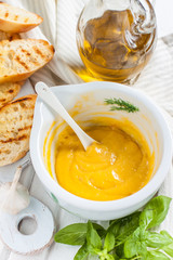 Mayonnaise sauce with garlic, egg yolk and olive oil