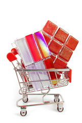 shopping trolley with red ceramic tiles
