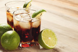 Fototapety Cocktail with cola and ice