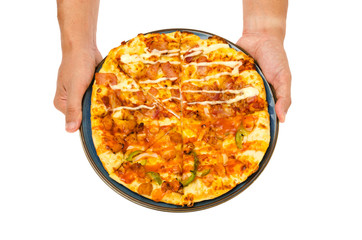 man hand hold pizza