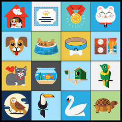 Vector Pet Flat Icons