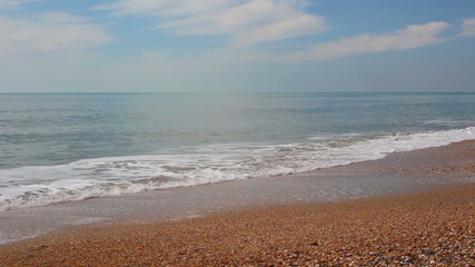 light breeze at beautiful sea coast at sunny day