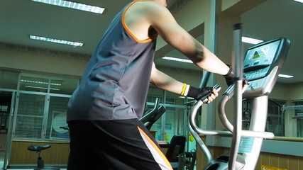 Exercising in the gym  treadmill,Slow motion.