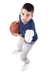isolated child playing basketball