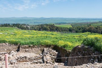 View of Tel Hazor and Golan Heights
