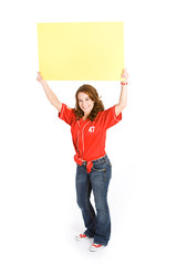 Baseball: Woman Holding Blank Sign
