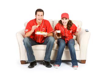 Baseball: Friends Anxiously Watching Game