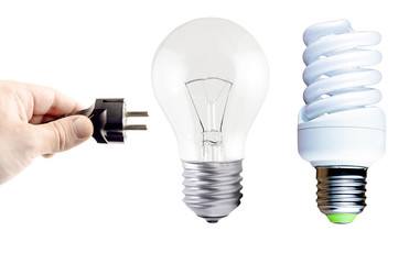 Plug in your hand, incandescent lamp and fluorescent lamp