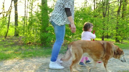 Family Life With Happy Mother And Child Walking Dog