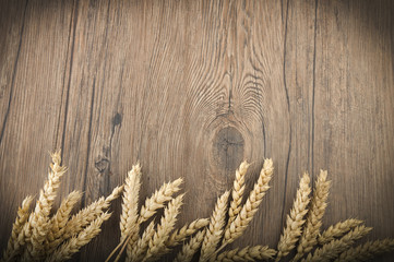 Wheat spikes on the dark wooden board