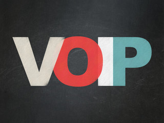 Web development concept: VOIP on School Board background