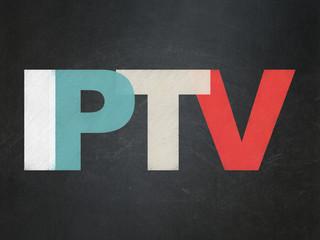 Web development concept: IPTV on School Board background
