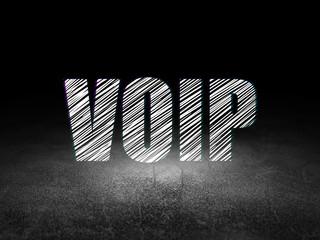 Web development concept: VOIP in grunge dark room