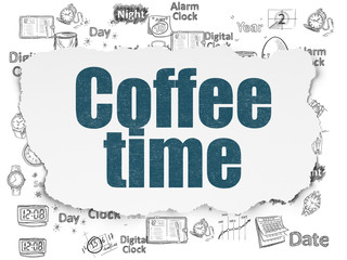Timeline concept: Coffee Time on Torn Paper background