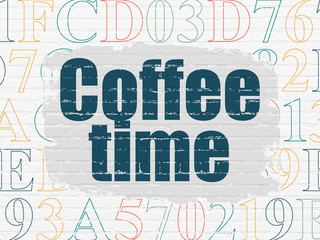 Timeline concept: Coffee Time on wall background