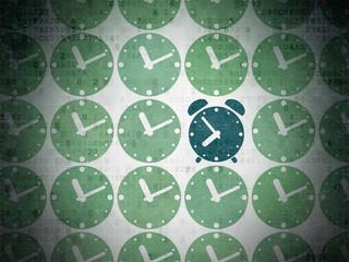 Timeline concept: blue alarm clock icon on digital background
