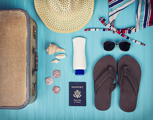 A collection of travel items