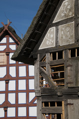 Half-timbered house structure detail