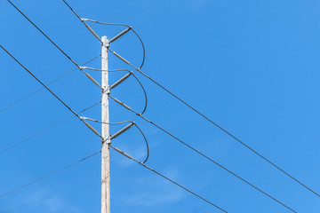 High voltage electricity wood utility power pole